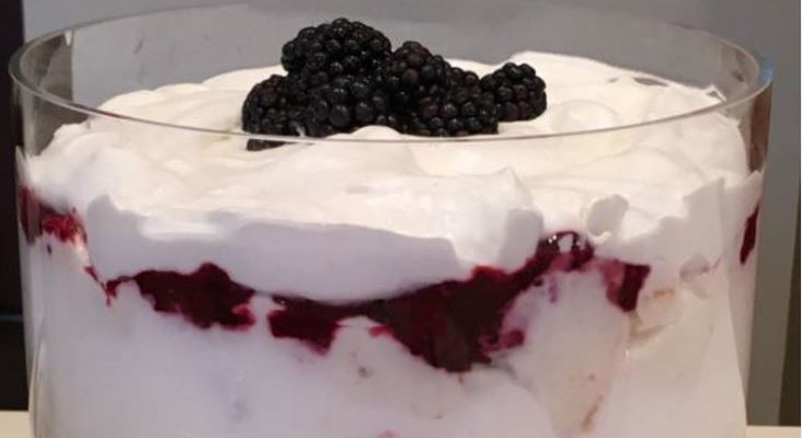 Blackberry & Cream Angel Food Cake Dessert