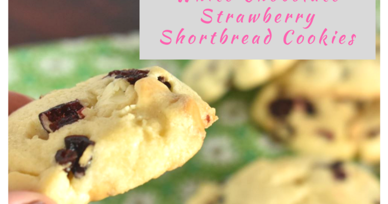 White Chocolate Strawberry Shortbread Cookies